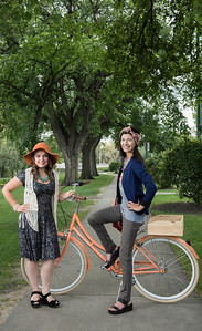 DAVID LIPNOWSKI / WINNIPEG FREE PRESS  Producer of the Cyclovia fashion show Lili Lavack (left) and Choreographer Carly Van Ryssel (right) pose for photos on Assiniboine Avenue Styled by Alexis Karsniki Saturday September 3, 2016.  For 49.8 Threads story on upcoming Cyclovia fashion show