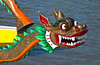 Closeup of the ornamental dragon head of the dragon boat at races on the Red River in Winnipeg, Manitoba, Canada.