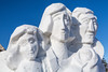 Closeup of Voyageur snow sculptures at the Festival du Voyageur in Winnipeg, Manitoba, Canada.