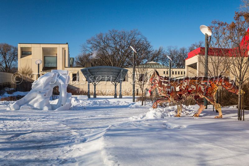 The Festival du Voyageur offices and park in St. Boniface, Winnipeg, Manitoba, Canada.