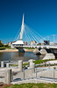 The Provencher Bridge and the Red River in Winnipeg, Manitoba, Canada.