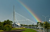 The Provencher Bridge with rainbow in Winnipeg, Manitoba, Canada.