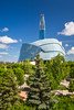 The city skyline of Winnipeg, Manitoba Canada from The forks National Historic site.