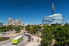 The Canadian Museum for Human Rights and the city skyline from The Forks in Winnipeg, Manitoba, Canada.