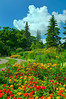 Flower beds, garden paths and flower arrangements at the English Gardens in the Assiniboine Park in Winnipeg, Manitoba, Canada.