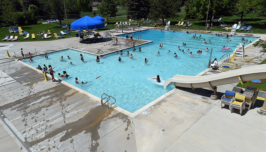 . People swim Tuesday, May 30, 2017, at Winona Pool in Loveland. The pool opened on Memorial Day for the summer.  (Photo by Jenny Sparks/Loveland Reporter-Herald)