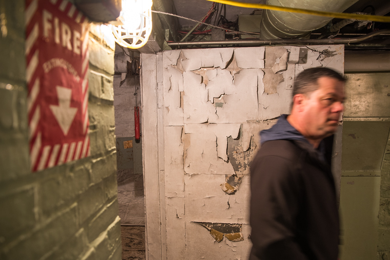 . Tyngsboro Police Chief, Pat Sands, tours the basement of the Winslow School in Tyngsboro.  Photo: Scot Langdon / SUN