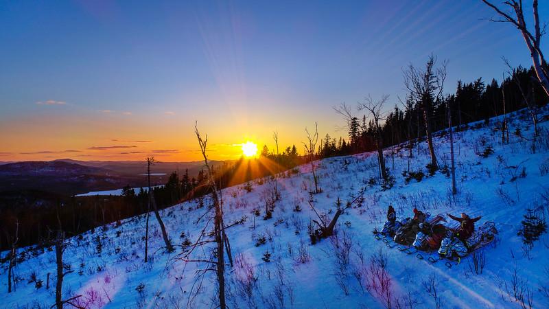 Snowmobile Sunset at East Kennebago Mountain