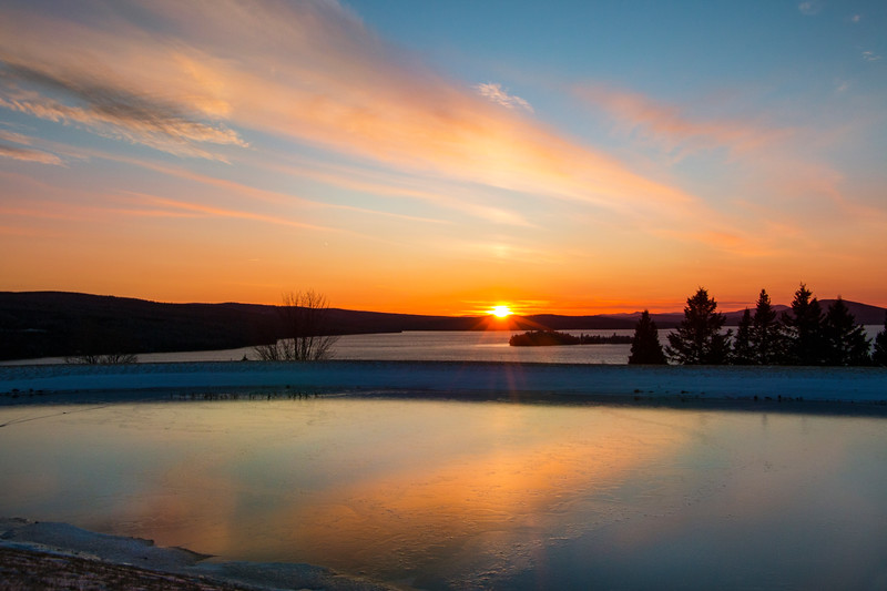 Frozen Sunset at the Rangeley Fitness Center