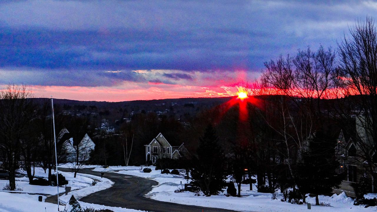 Sunset on St Valentine's Day, Watertown, CT