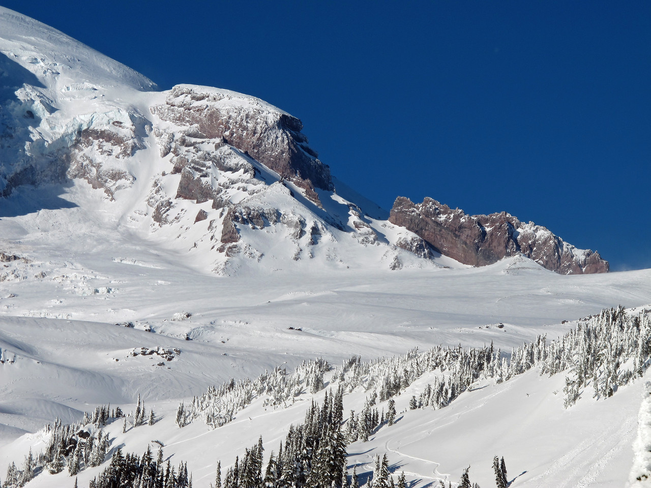 Camp Muir can be seen (in full size image) in the snow bowl at the base of the right rock outcrop (to the left of center of the rock formation).