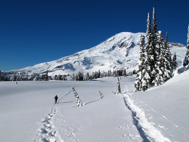 Shanon snowshoeing on Mazama Ridge (or rather plateau).