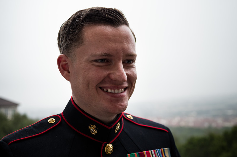 William Dougherty in his dress blues.<br /> <br /> The Wedding of William & Blythe Dougherty. Saturday, 4 February, 2017. Austin, Texas.