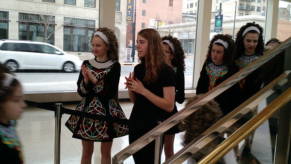 Rachel with her Irish dance group getting ready to perform in downtown Madison (at the Overture Center)