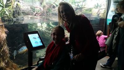 Sara Ann and Leslie A. at the aquarium.
