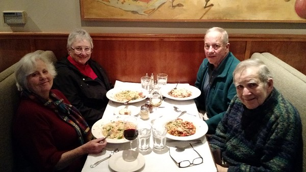 Having dinner with Ann and Bill at Colors Italian Restaurant in Oakland