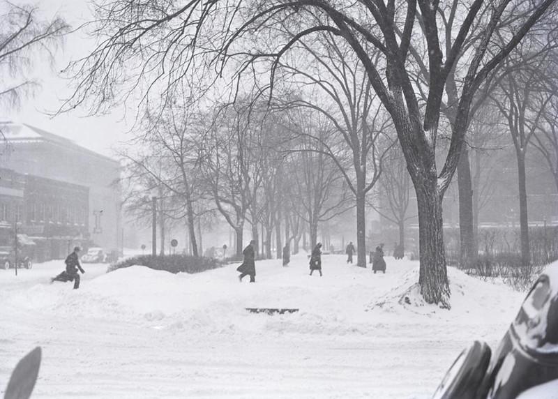Winter on campus, 1938.
