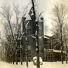 Law Building in snow, NW corner of Central Campus, ca. 1898.