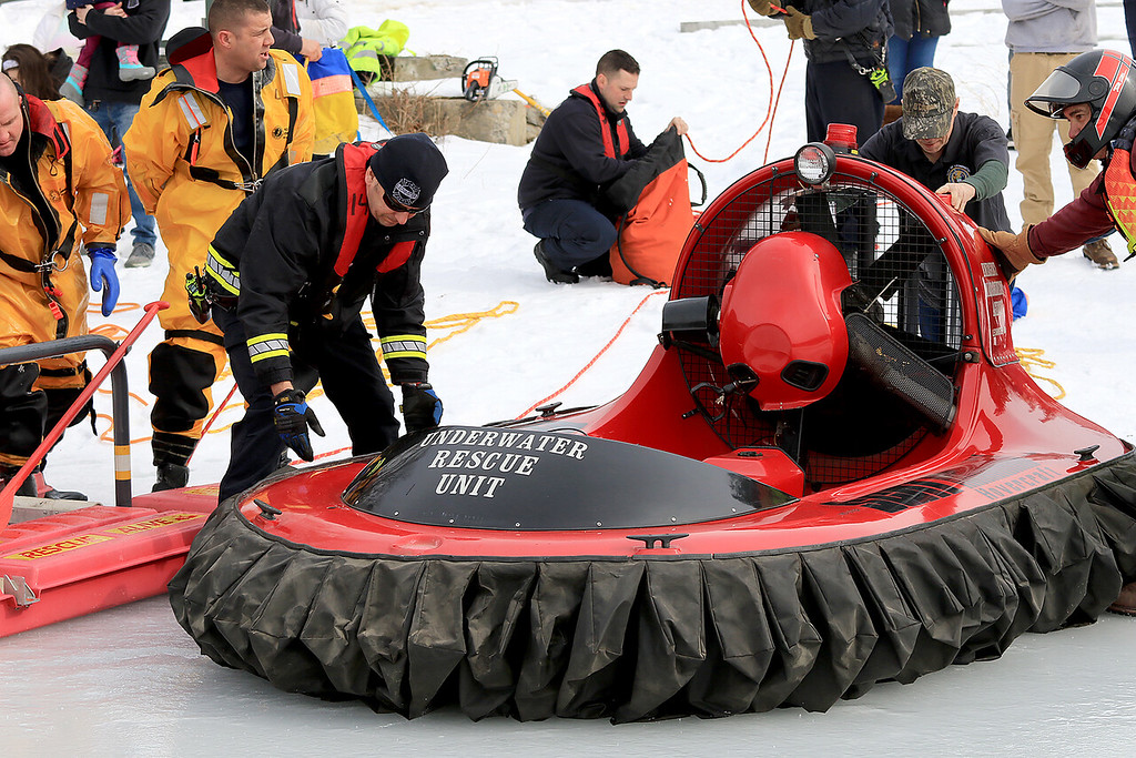 . The Leominster Recreation Department, Project Apples, Growing Places, Leominster Trail Stewards, Emergency Management, the Fire Department and the Boy Scouts joined together to offer a free winter event on Saturday, February, 23, 2019 at Barrett Park. During the event the Leominster Fire Department with Emergency Management held an ice saftey and ice rescue demonstration on Colburns Reservoir at the park. They had this hover craft on site as well that they drove around the ice to show how it worked. (See video) SENTINEL & ENTERPRISE/JOHN LOVE