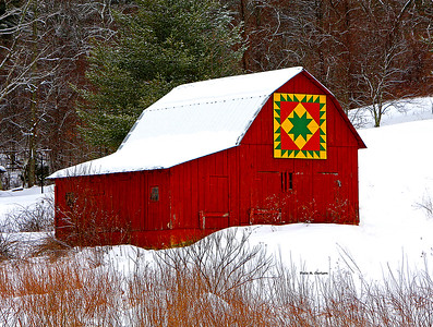 Delectable Mountains Barn Quilt in Snow