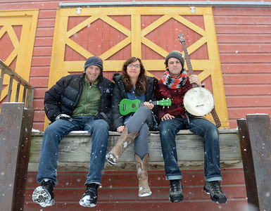 Tania Barricklo-Daily Freeman                      Ruthy Ungar, center, and Mike Merenda , right, sit with musician Dan Bern one of the featured musicians  who will be performing Saturday at the Winter Hoot.