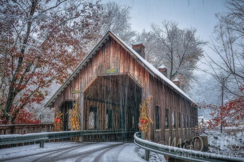 Snow Falling At Emerts Cove Covered Bridge