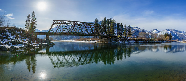 Chopaka Bridge Winter Reflections Panoramic
