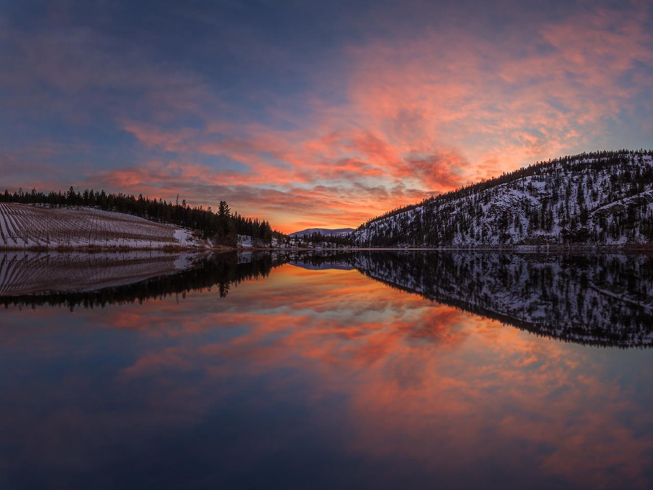 Green Lake Epic Winter Sunset- Mirrored