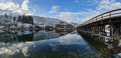 OK Falls Trestle  Winter Reflection Panoramic 2020