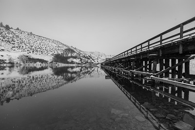 OK Falls Trestle Winter Reflection BW