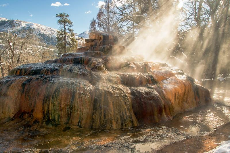 Pinkerton Hot Springs in winter sunlight