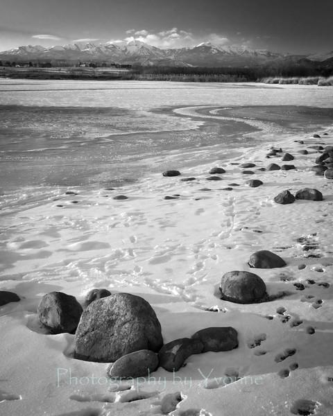 Mountains Ice Rocks at Pastorius, Black & White