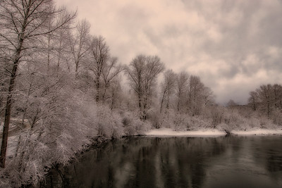 Snoqualmie River Reflection from Ped Bridge Soft Snowy Morning 2-4-19