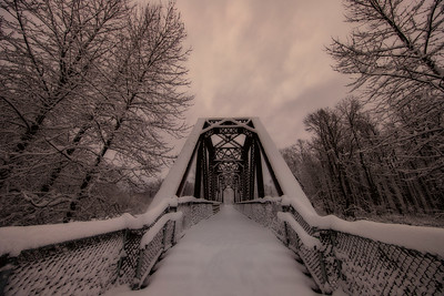 Ped Bridge Sno Valley Trail Snowy Morning 2-4-19