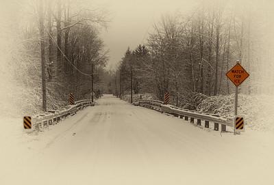 Watch for ice - bridge snow scene North Bend WA 12-20-13 Dec 20 2020 Ver