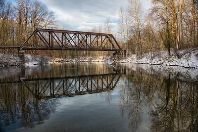 Snoqualmie River Ped Bridge Reflection Snowy Day 12-10-16 Dec 2020 Rev