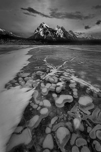 Abraham Lake is an artificial lake on North Saskatchewan River in western Alberta, Canada. Frozen bubbles of methane.