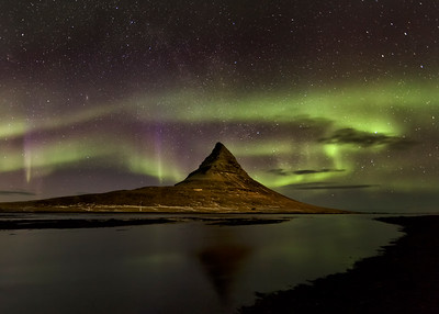 Northern Lights over Mt. Kirkjufell, Iceland