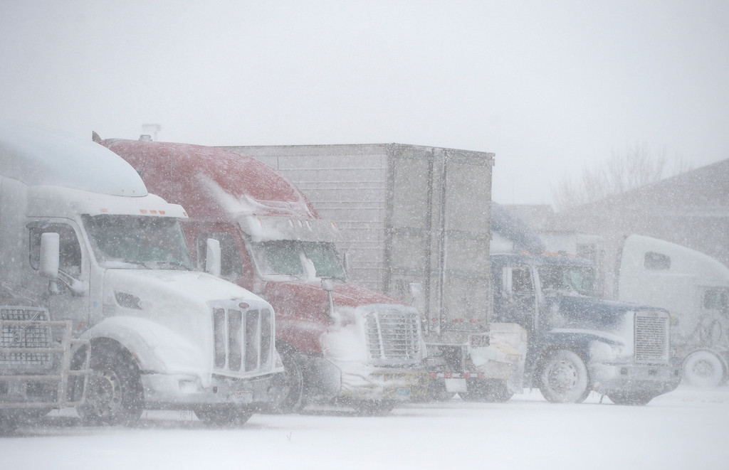 . LONGMONT, CO - MARCH 13: A filled Del Camino truck stop during the blizzard March 13, 2019. To view more photos visit timescall.com. (Photo by Lewis Geyer/Staff Photographer)