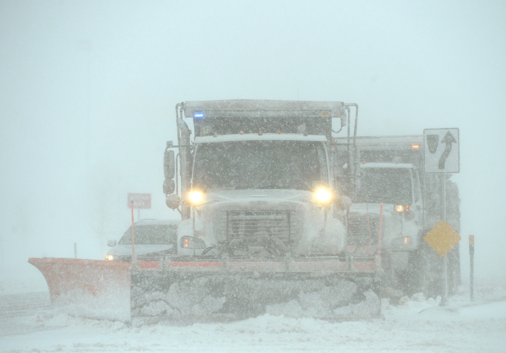 . LONGMONT, CO - MARCH 13:  Longmont snowplows clear Colo. 119, at Weld County Road 1, during the blizzard March 13, 2019. To view more photos visit timescall.com. (Photo by Lewis Geyer/Staff Photographer)