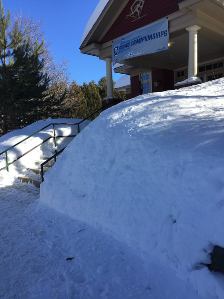 Entrance to the Jackson XC Ski Center with very high snow banks.