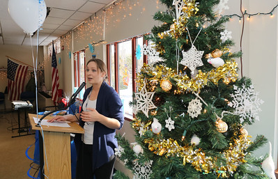 Canton Senior Center coordinator Nicole Carrasquillo welcomes attendees to the 2016 Winter Wonderland.  Photo by John Fitts