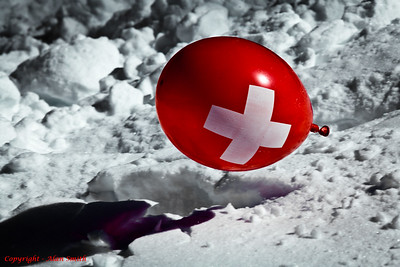 Emergency Red Balloon on Snow