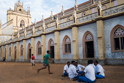 Fishermen during a group meeting for the annual pilgrimage to Velankani. These churches are not only a place to pray for the fishermen but also a community center where men meet to discuss about their work.