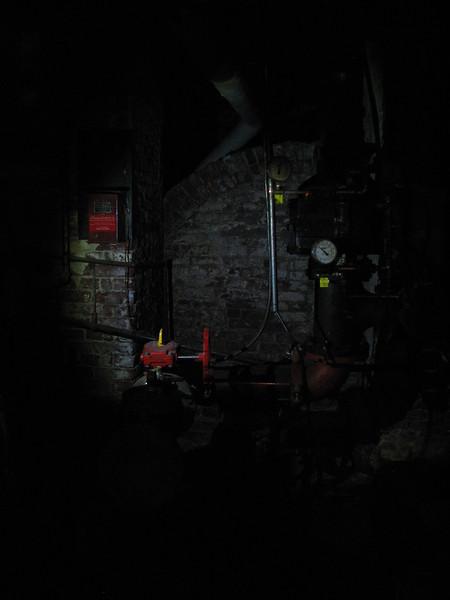 Flashlight-illuminated view of the crypt