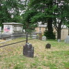 Benjamin Lincoln's grave (marked by the flags) is located on the hillcrest directly behind Old Ship Church