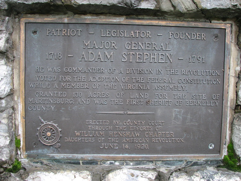 Close up of the plaque on Stephen's monument