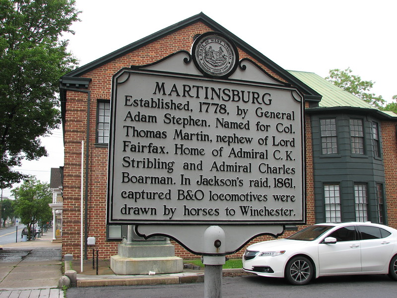This historical marker is on King St (US 11) near North Maple St in Martinsburg. A similar marker is at 1316 Edwin Miller Blvd.