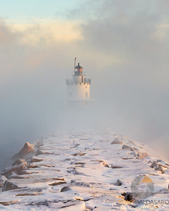 Spring Point Ledge Light Shrouded in Sea Smoke