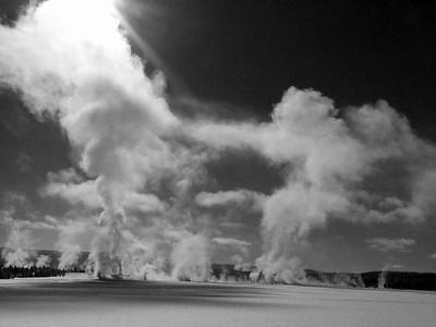 Winter Steam in Black and White